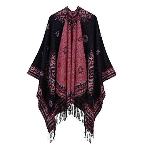 Mantella lunga da donna, scialle nappe retrò da donna scialli caldi moda sciarpe da donna cardigan, sciarpa invernale spessa oversize poncho cape foulard nero