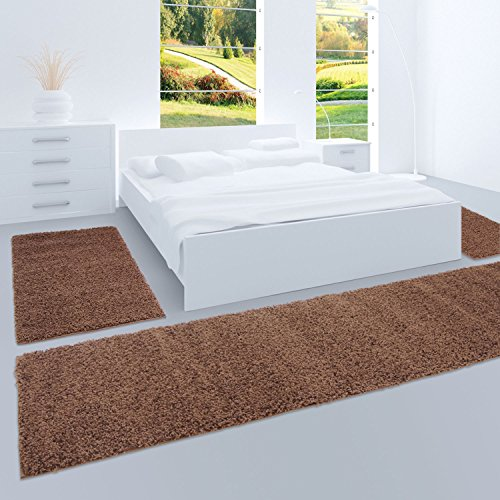carpet city Shaggy Bettumrandung Hochflor-Teppiche in Braun, Einfarbig für Schlafzimmer, 3-Teiliges Läufer-Set: 2X 70x140 cm und 1x 70x250 cm