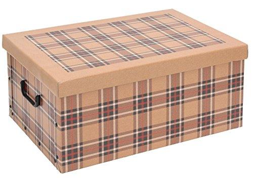 Tartan Karton Aufbewahrungsboxen mit Deckel Home Office Schule Raum für Spielzeug Aufbewahrungsbox Truhe Trunk Cream Tartan