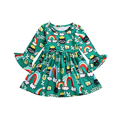 Kleinkind Baby Mädchen St. Patrick's Day Lucky Clover Regenbogen Druck Lange Ärmel aus Reiner Baumwolle, Baumwolle, grün, 100 cm (St Patrick's Day Kostüm Für Kleinkind)