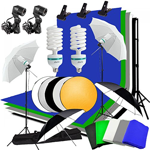 Abeststudio Kit d'éclairage parapluie continu pour studio photo vidéo, 4 parapluie, 5x 1.6 * 3m Contexte (Noir Blanc Vert Bleu Gris), 2 * 3m fond Support stand,2x 135 Ampoule,2x Lumière stand + 60cm 5 en 1 panneau réflecteur