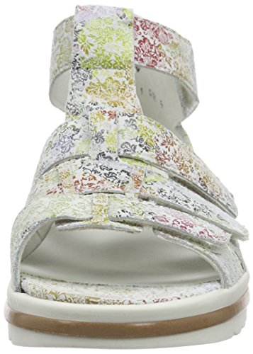 Waldläufer  Hakura, Sandales Bout ouvert femme Multicolore - Mehrfarbig (Florat offwhite)