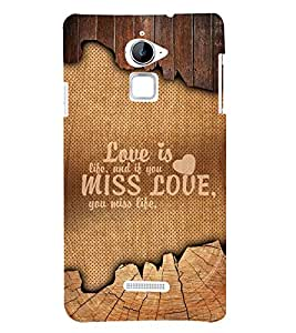 Love Is Life Quote 3D Hard Polycarbonate Designer Back Case Cover for Coolpad Note 3 Lite