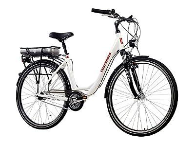 Telefunken E-Bike Damen, Elektrofahrrad 250W und 10Ah, 36V Lithium-Ionen-Akku, Shimano Nabenschaltung - Pedelec Citybike leicht, Alu in Weiß, 7 Gang, Reifengröße: 28 Zoll