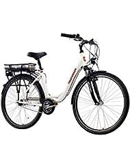 Telefunken E-Bike Damen, Elektrofahrrad Alu in weiß, 7 Gang Shimano Nabenschaltung - Pedelec Citybike leicht, Mittelmotor 250W und 10Ah/36V Lithium-Ionen-Akku, Reifengröße: 28 Zoll