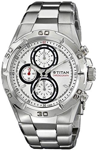 Titan Octane Chronograph White Dial Men's Watch - NE9308SM01J