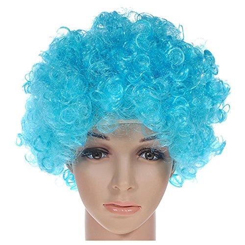 PQZATX Lockig Clown Peruecke Afro Faschingskostuem Disco Partei Kostuem Maenner Damen Haarfarbe: Himmel blau