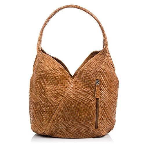 FIRENZE ARTEGIANI.Bolso shopping bag de mujer piel auténtica.Bolso cuero genuino grabado con motivo...