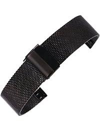 14mm correa de reloj elegante Milanese malla cadena negro pulsera correa del reloj para las mujeres