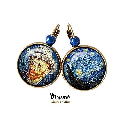 Boucles d'oreilles La nuit étoilée et Vincent van Gogh cabochon verre dormeuses