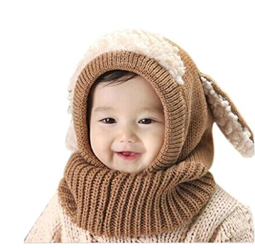 Winter Kinder Baby Jungen Mädchen Hut Kapuzenschal Covermason Kappe Mützen (Khaki)