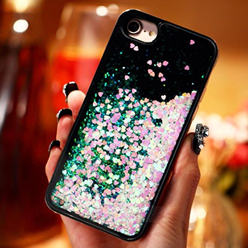 Ouneed® For iPhone 7 Hülle, 3D Dynamic Liquid Quicksand Glitzer Star Herz Case Cover für iPhone 7 4.7 Zoll (4.7 Zoll, E) D