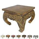 Opiumtisch Beistelltisch Couchtisch 50 x 50cm Thailand Tisch Holz Gold Antik