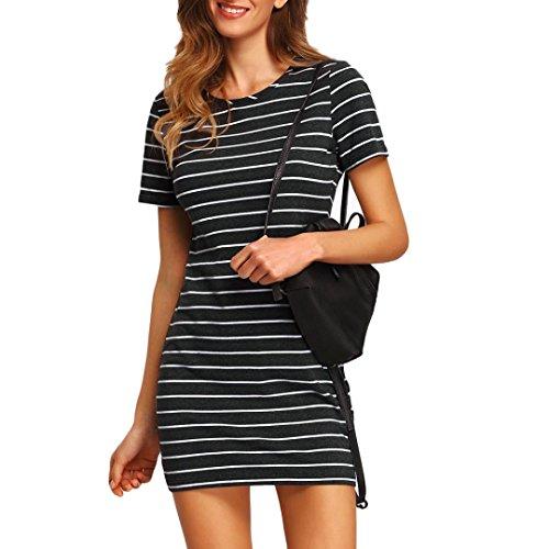 Kleid Casual Stripe Short Ärmel Minikleid T-Shirt Kleid Kurzärmliges Rock für Frauen Enges gestreiftes Kleid mit Rundhalsausschnitt (M, Schwarz) (Cotton Club Kostüme)