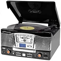 Trevi TT 1065 Tocadiscos estéreo con altavoces (USB, SD, MP3, CD, salida RCA, mando a distancia) - negro