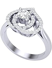 Vishu Jewels 925 Sterling Silver White Diamond Beautiful Engagement And Wedding Ring For Women