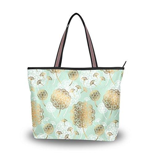 Ahomy Tragetasche Schultertasche Pusteblumen-Blume Handtasche für Outdoor Gym Wandern Picknick Reisen Strand, Mehrfarbig - multi - Größe: L