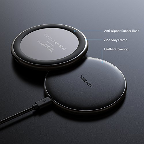Lensoul Cargador inalámbrico para iPhone X 5W almohadilla de carga con cubierta de cuero y base metálica IOS cargador inalámbrico para iPhone X iPhone 8/8 Plus Samsung Galaxy Note 8 S6 S7 S8 / S8 Plus [Sin adaptador de CA]