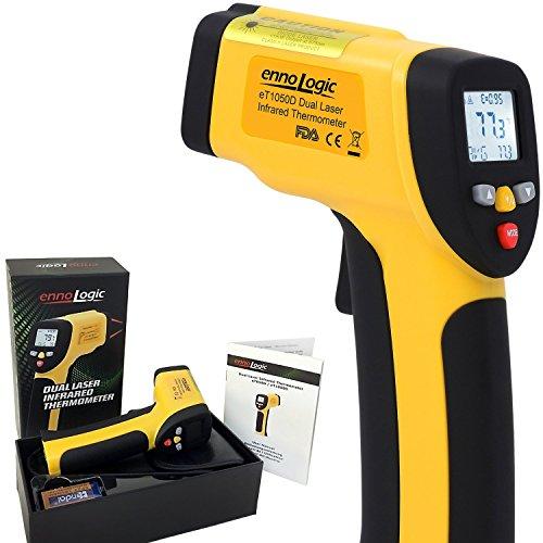 hermometer eT1050D mit Doppel-Laser - Kontaktfreie Infrarot Messpistole - Berührungsloses IR Oberflächenthermometer - Messbereich -50°C bis +1050°C ()