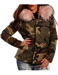 Damen Camouflage Winter Parka Kapuzen Jacke Parka Military Army-Look Teddyfutter