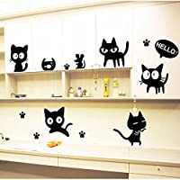 Stonges Children Bedroom Black Cat Cartoon Wall Stickers Fashion Creative Living Room Study RoomWall Posts