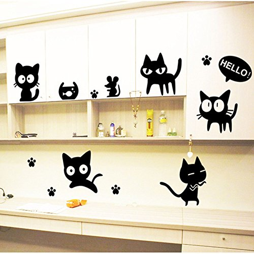 Stonges Dormitorio niños negro gato dibujos animados