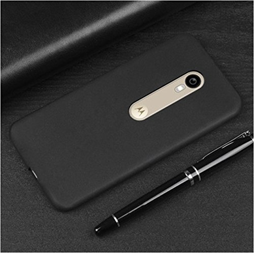 V CAN Premium Flexible Soft Silicone Rubber TPU Ultra Slim Shockproof Resistance Protective Back Cover for Motorola Moto G3 (Black, SOFTCVR-37)