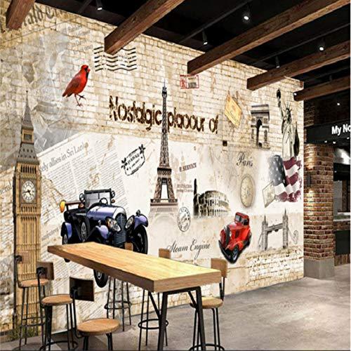 Keshj Carta Da Parati Vintage Personalizzata Murale 3D Auto Parete Carta Da Parati Ktv Ristorante Bar Cafe Sfondo Muro Dipinto Per Soggiorno-300cmx210cm
