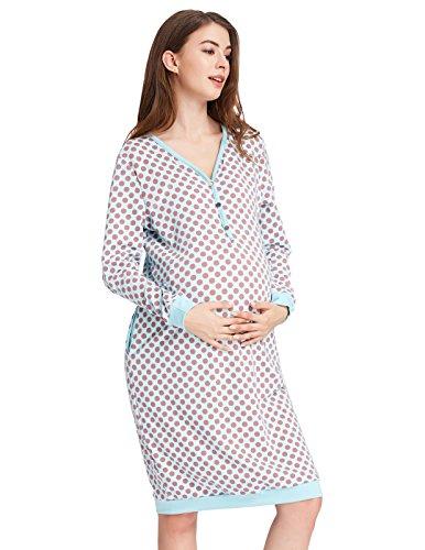 GRACE KARIN Camisón de Maternidad para Lactancia Manga Larga de Lunares XL CL010641-2