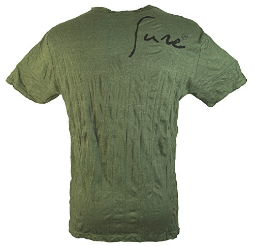 Guru-Shop Sure T Shirt Happy Buddha, Herren, Baumwolle, Sure T-Shirts Alternative Bekleidung Olive