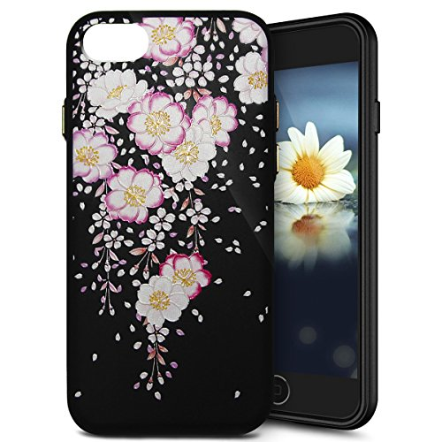Coque Housse pour iPhone 7 Plus, iPhone 7 Plus Coque en Silicone Noir Fleurs Motif Etui Housse, iPhone 7 Plus Souple Coque Etui en Silicone, iPhone 7 Plus Silicone Black Case Slim TPU Cover, Ukayfe Et Ewha Begonia