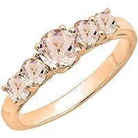 14 K oro rosa redondo 3,8 mm cada Gemstone Ladies 5 piedra aniversario anillos