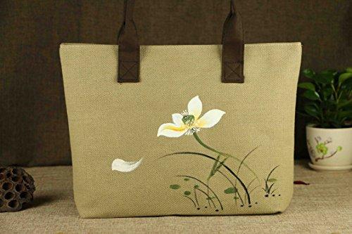 Aiffer Frauen Handgemalt Retro Sonnenblumen Lotus Tragetasche Persönlichkeit  Aquarell Freizeit Leinen Totes Schulter . Lotus Muster