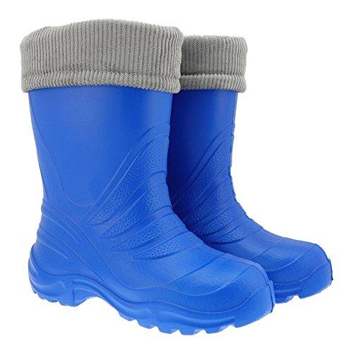 GALLUX - EVA Kinder Gummistiefel superleicht und supercool in vielen Farben und einem warmen Futter Kornblau
