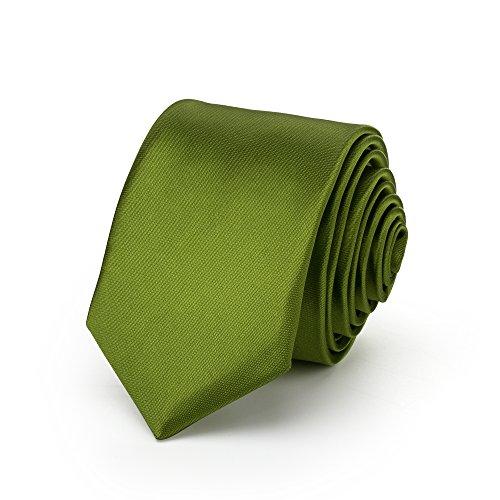 Rusty Bob - Krawatte schmal/dünn 3cm-5cm für Herren [auch für Kinder/Jungen] (uni,nicht gestreift) aus Polyester glänzt wie Seide - Olivgrün