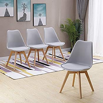 HomJoy Modern Design Dining Table and Chair Set, Grey Retro Lounge Tulip Chairs and 80cm Round Table (Grey * 4 + 80cm Table)