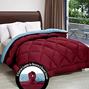 """Cloth Fusion Pacifier 2nd Generation 200GSM Microfiber Reversible AC Comforter for Single Bed - (60""""x90"""") Inches, Maroon & Sky"""