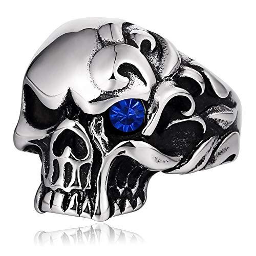 Epinki Acciaio Inossidabile Anello per Uomo Blu Singolo Occhio Cranio Zirconi Anello Vintage Gothic Biker Punk Rock Anello Taglia 22