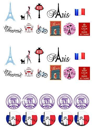 32 City Paris Thème pied comestibles Papier Cake Toppers décorations