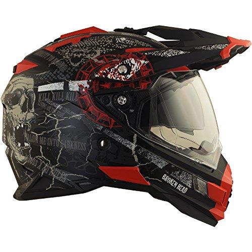 Broken Head Road Pirate Cross-Helm mit Visier | Endurohelm - MX Motocross Helm mit Sonnenblende - Quad-Helm Größe M (57-58 cm) - 4