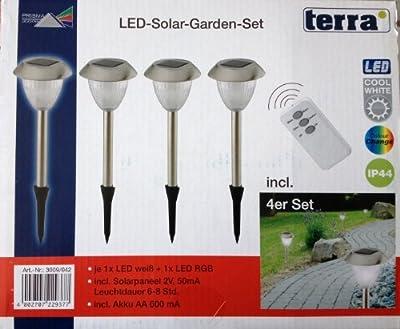 """4er Set Prisma """"Terra"""" LED Solar Außenleuchte Erdspieß Gartenleuchte Mit Fernbedienung / LED Farbe: Weiß und Farbwechsler"""