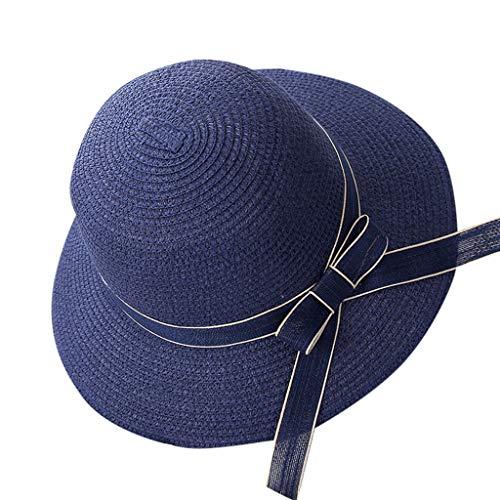 HHyyq Faltbarer Strohhut für Damen UPF 50+ mit breiter Krempe mit Sonnenschutz Summer Breathable Sun Protection(Marine)