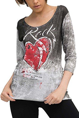 trueprodigy Casual Mujer Marca Camiseta Estampado Ropa Retro Vintage Rock Vestir Moda Cuello Redondo Manga Corta Slim fit Designer Cool Urban Fashion t-Shirt Color Negro 1073532-2999-M