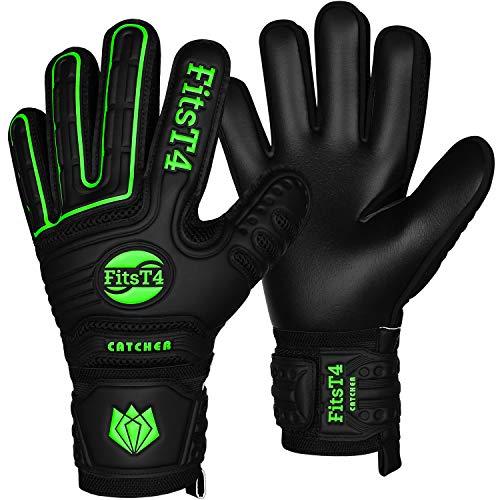 FitsT4 Goalie Torwarthandschuhe mit Fingersave-Schutz, Gelenkschutz & Super-Grip-Handflächen Fußball-Torwarthandschuhe für Jungen, Mädchen, Jugendliche, Erwachsene