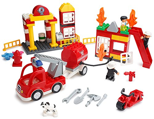 Play-Build-Fire-Station-Building-Blocks-Set-86-Pieces--Includes-Fire-Department-Building-Fire-Engine-Motorcycle-Firemen-Boy-Minifigures-Dalmatian-Accessories-Compatible-with-LEGO-DUPLO