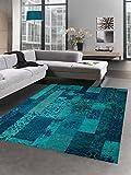 Designer tapis patchwork vintage tapis du salon orient kelem multicolor bleu turquoise Größe 160x230 cm