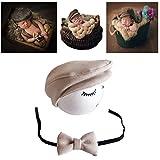 Coberllus neugeborenen babyfotografie props kostüm Jungen Mädchen baby fotografieren fotoshooting set requisiten accessoire Hut mit Puppe (Beige)