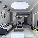 VINGO 16W LED Deckenbeleuchtung Rund Deckenlampe Starlight Effekt Schön Wohnraum Wohnzimmer Lampe Weiß, Kunststoff, 16w Weiß Rund