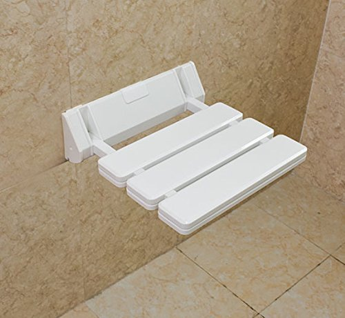 SoBuy® Banco de pared, silla de pared, silla plegable, taburete para ducha, taburete, asiento plegable, FWH01-W, color: blanco