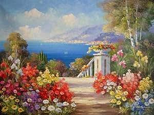 Art abstrait mer méditerranée Jardin Seashore Plage peinture huile 100% huile peint à la main peinture décoration pour la maison moderne Reproduction d'art peinture